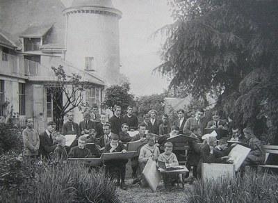 leçon de dessin en plein air - 1914